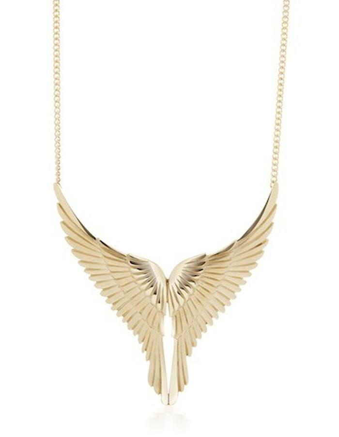FLIGHT - a large gold plated, silver eagle's wing necklace which is beautifully carved with feather detail and measures approx 60mm square.The wing span including curb chain measures 18 inches long.