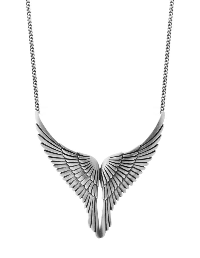 FLIGHT - a large sterling silver eagle's wing necklace which is beautifully carved with feather detail and measures approx 60mm square.The wing span including curb chain measures 18 inches long.