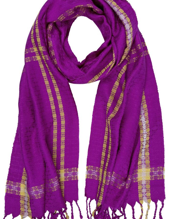 Petal and Stem Woven Silk Magenta Scarf, Made by hand in Ireland from 100% Silk