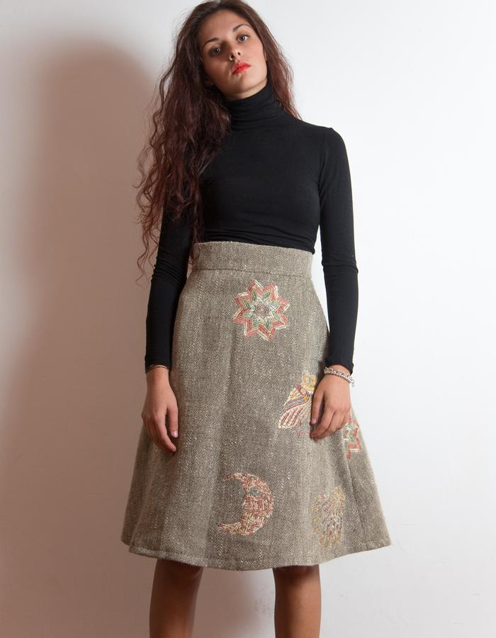 Embroidered wool skirt.