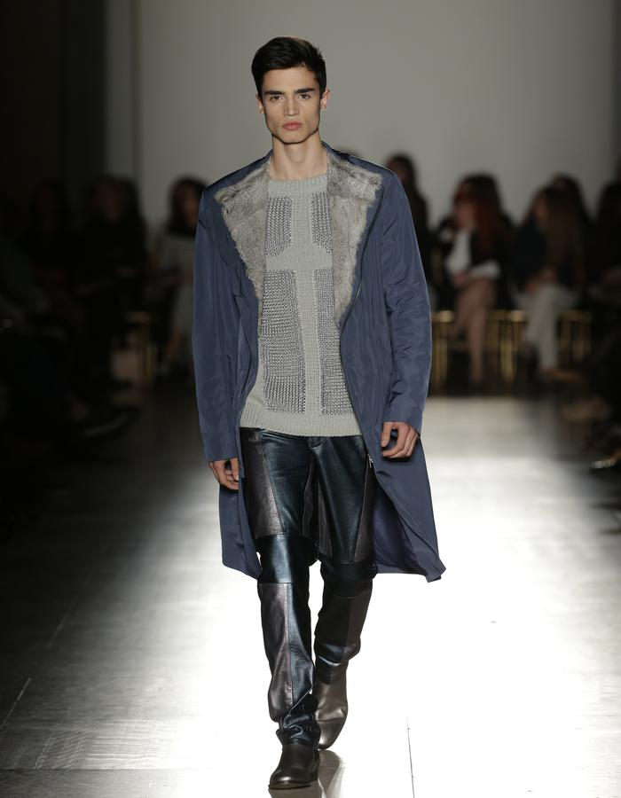 Blue Coat and Silver Knitwear Sweater