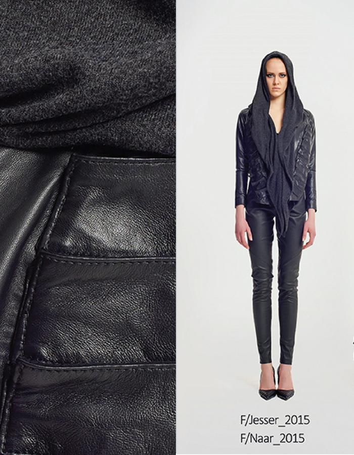 Haifa Fahad Lambskin leatherJacket with removable hood. Styled with High waisted leather pants