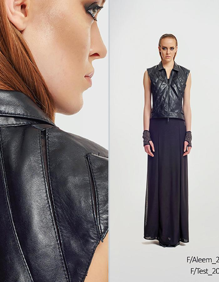Haifa Fahad Lambskin leather vest. Styled with Dark greyTank Dress