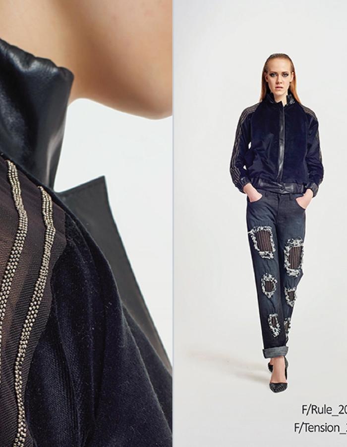Haifa Fahad Velour/leather panel with metallic embroidery. Styled with Denim destressed pants