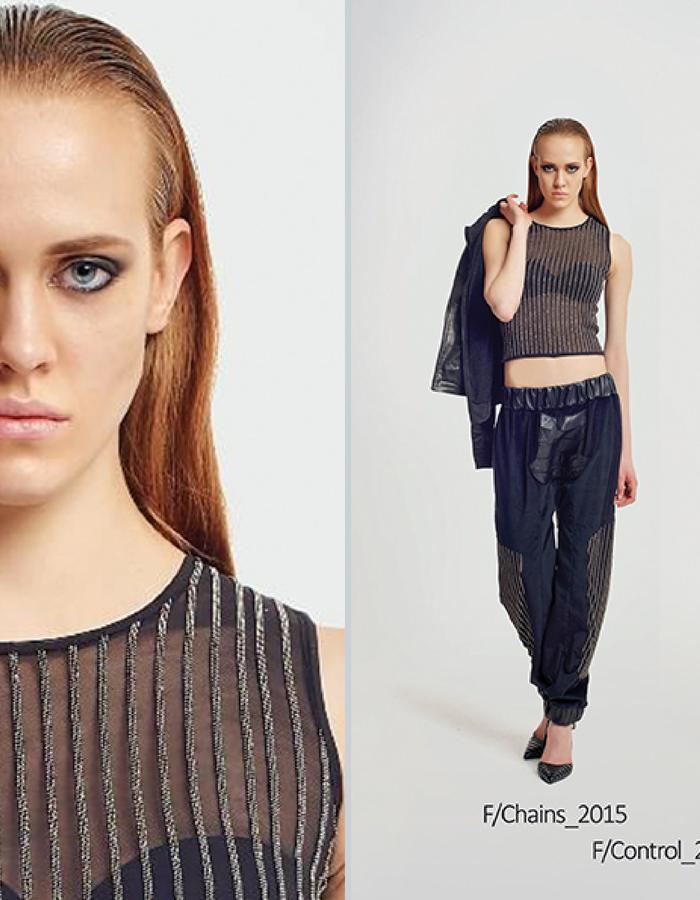 Haifa Fahad Metalic tank top. Velour/leather/metallic pants
