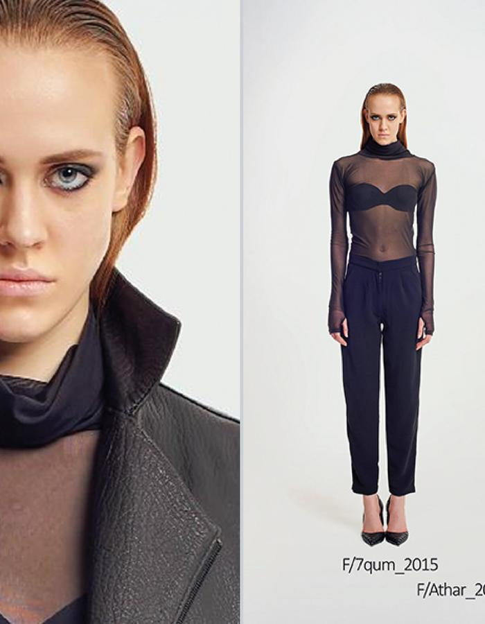 Haifa Fahad Transparent turtle neck top. Lambskin leather biker style Jacket with Metallic embroidery.