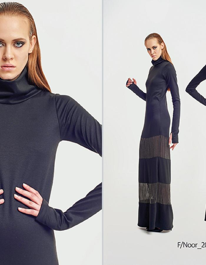 Haifa Fahad Turtle neck maxi dress with metallic embroidery