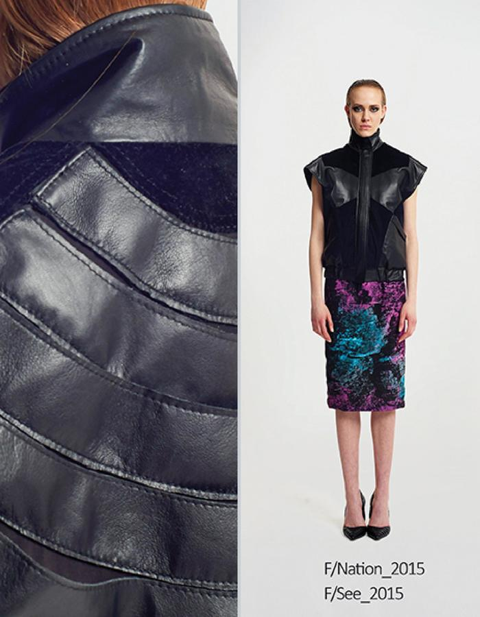 Haifa Fahad Lambskin/velour panel vest styled with Mutli-colored Scuba tube top and Mutli-colored pencil skirt
