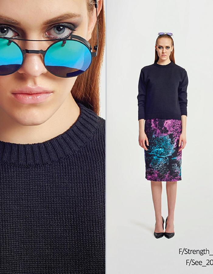 Haifa Fahad Mutli-colored pencil skirt styled with Black wool jumper