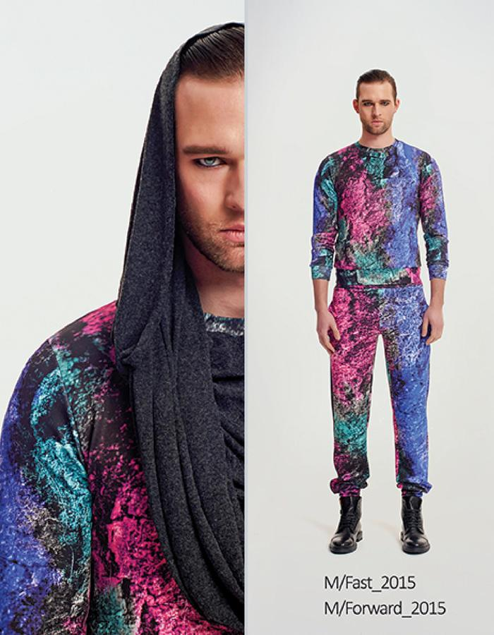Haifa Fahad Multi-colored scuba jumper styled with Multi-colored scuba pants
