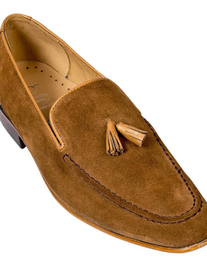 Camel Brown Suede Suede tassel Loafers