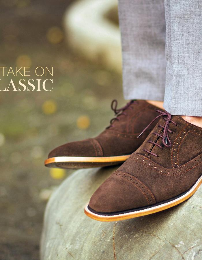 Coffee Brown Calf Suede Oxfortds