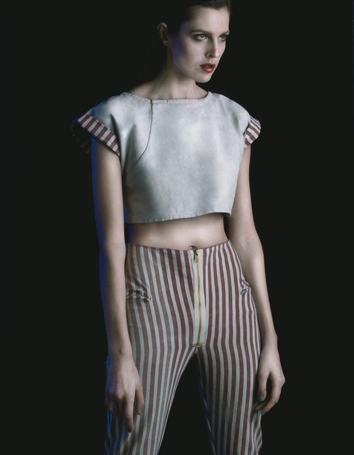 Stripped Canvas: hard crop-top and hard pants