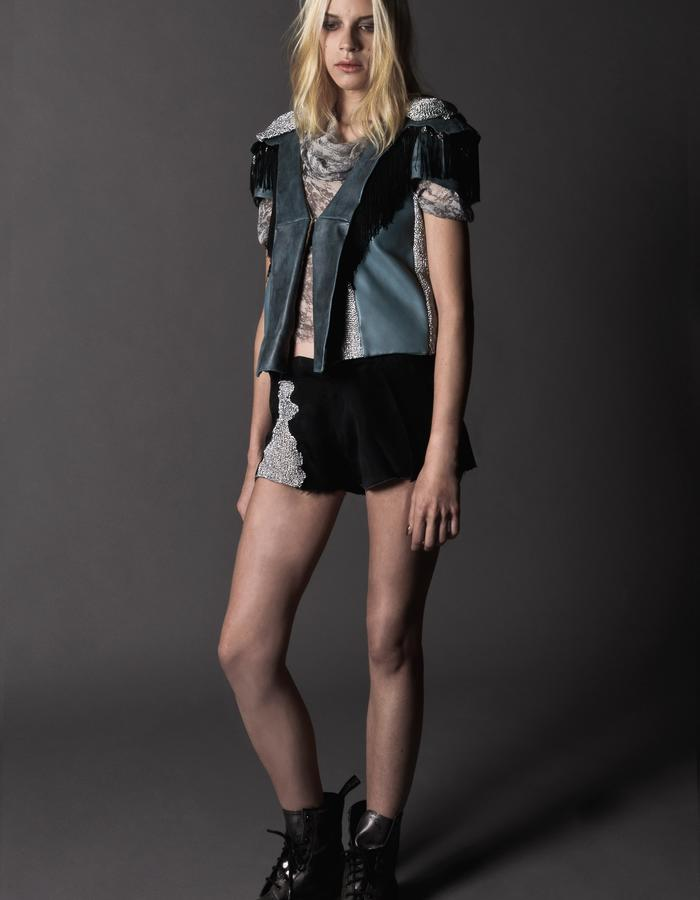 Shrill: veil top, leather lurex jacket and lurex playsuit