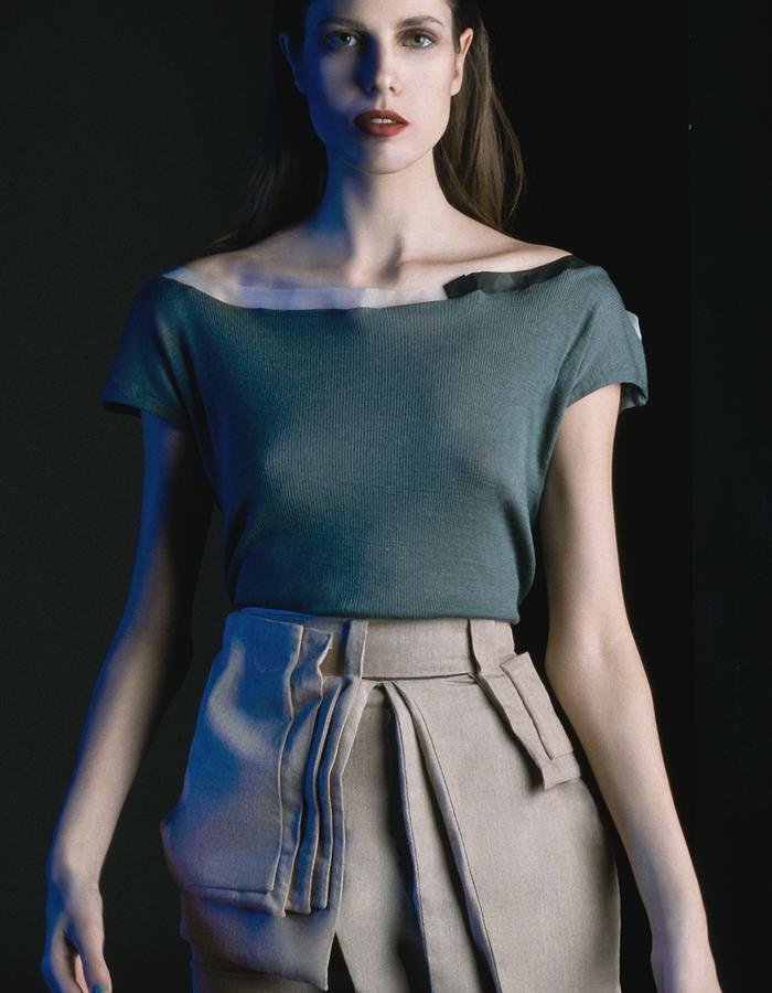 Pleated: wool t-shirt and japan denim skirt