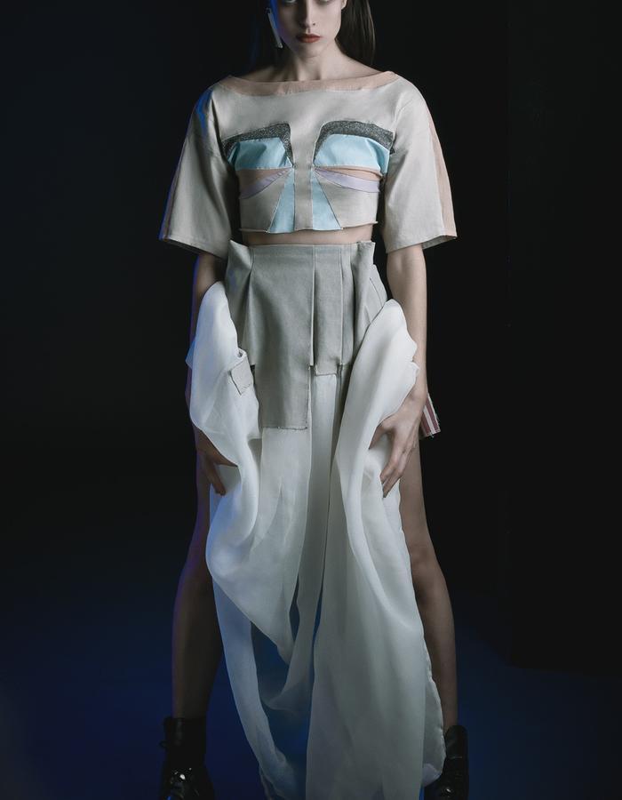 Iris multicolored crop top and Pleated veil skirt wedding dress like