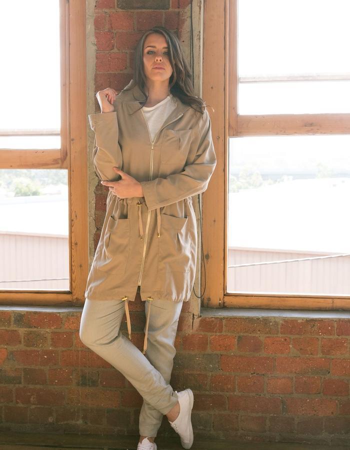 Tencel Parka with linen straight leg pants