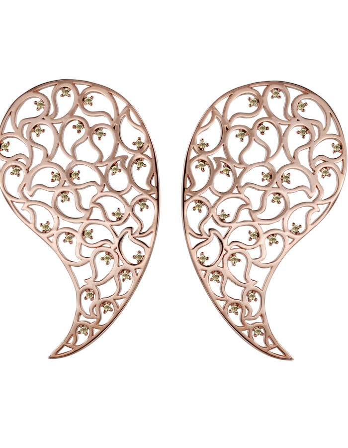 Kairi Rose Gold earrings Yellow CZ