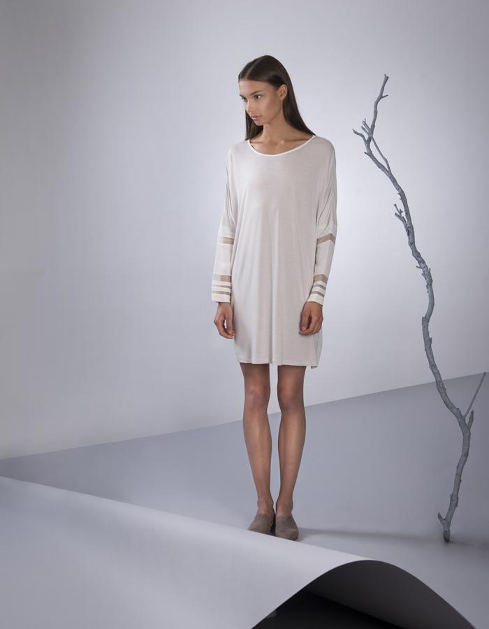 GINLEE Jig Dress, self: 100% Modal, sleeve: cupro, silk stripes