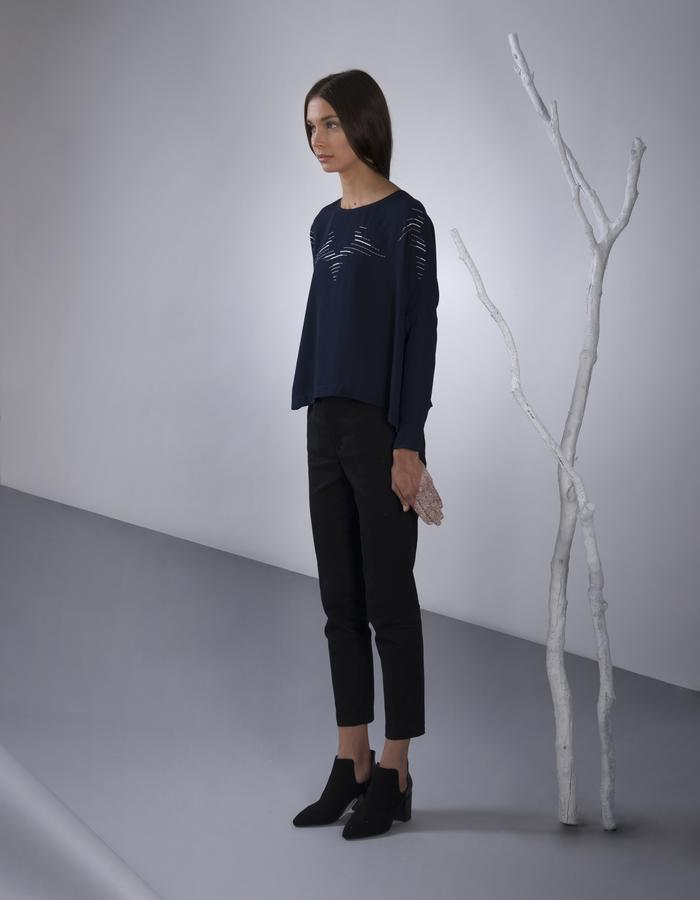 GINLEE Aro Top, Embroidery on Rayon-Viscose