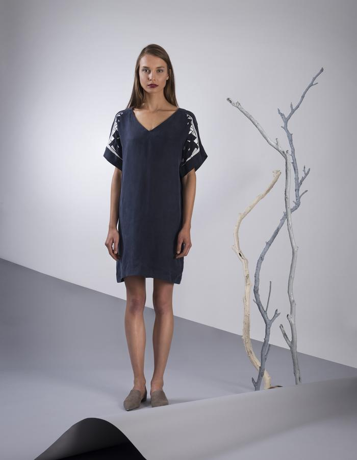 GINLEE Lyn Dress, Embroidery on Cupro