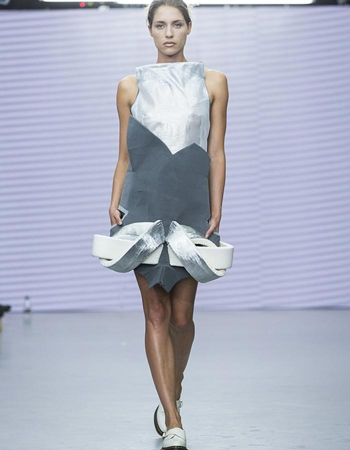 sculptural dress with palstic and padded jersy and foam embellishment