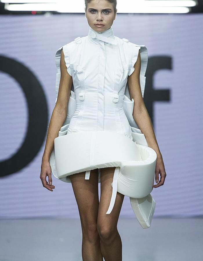 Polyester and foam structured mini dress in white contemporary