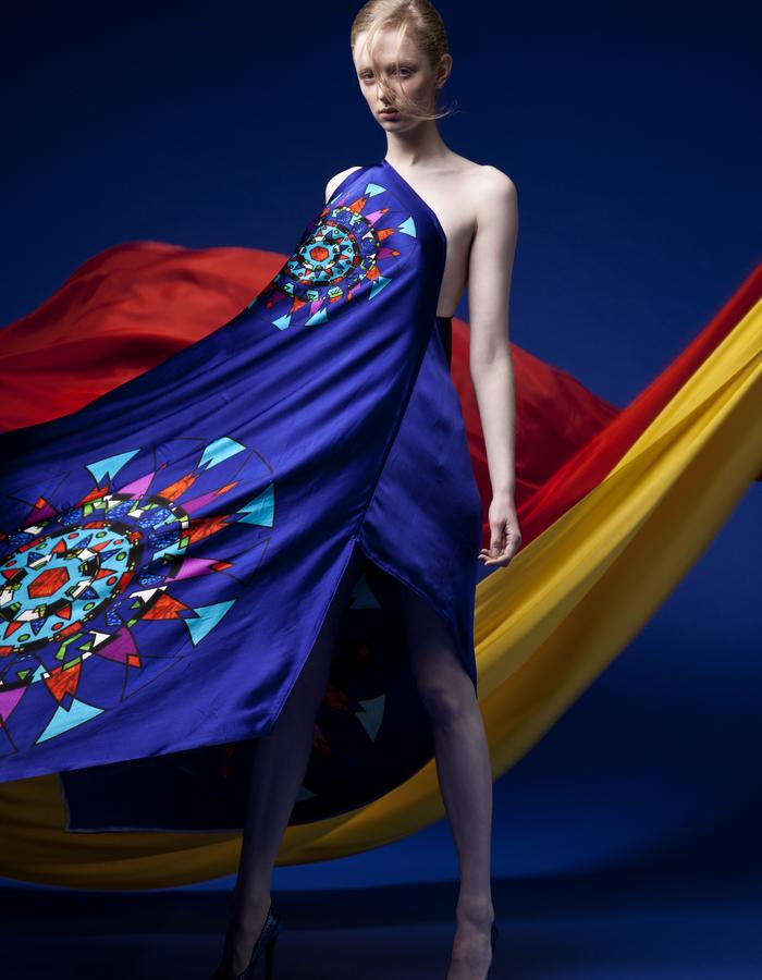 Circular Stained Glass One Shoulder Printed Gown