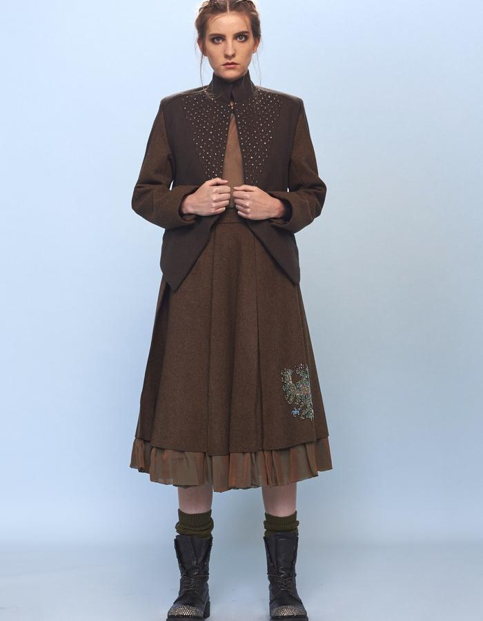 woolen skirt and jacket