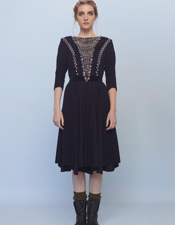 navy woolen dress with crystals