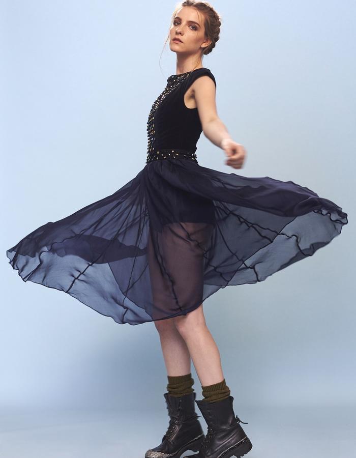 velvet leotard with chiffon skirt