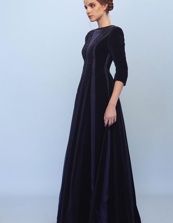 velvet chiffon evening dress