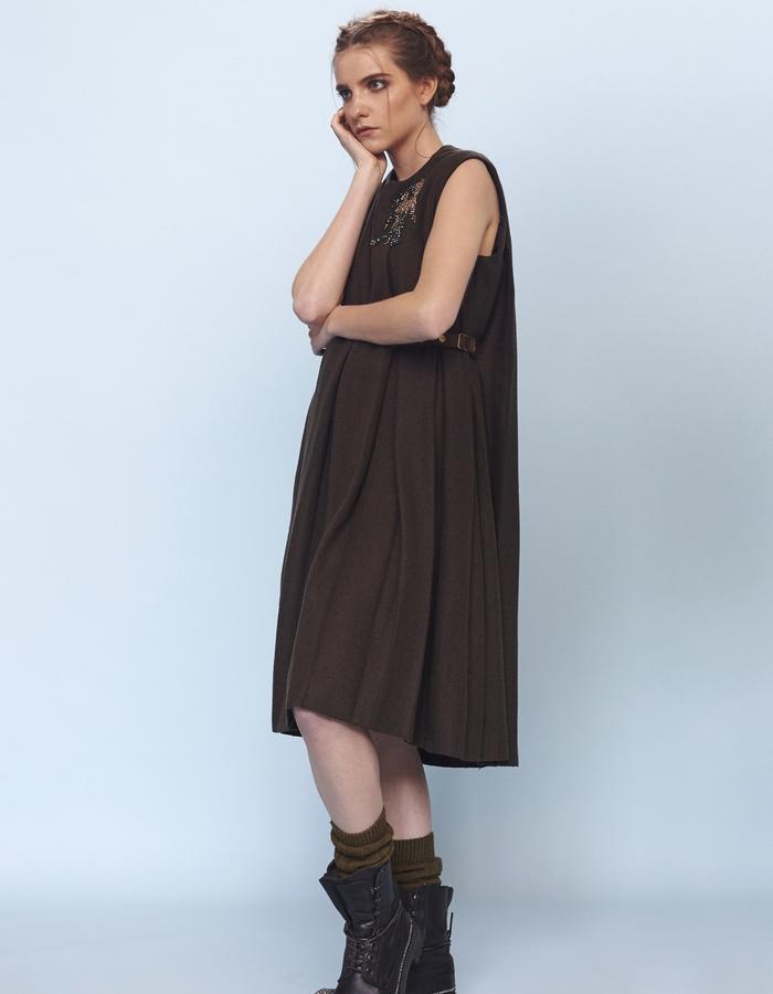 woolen pleated dress