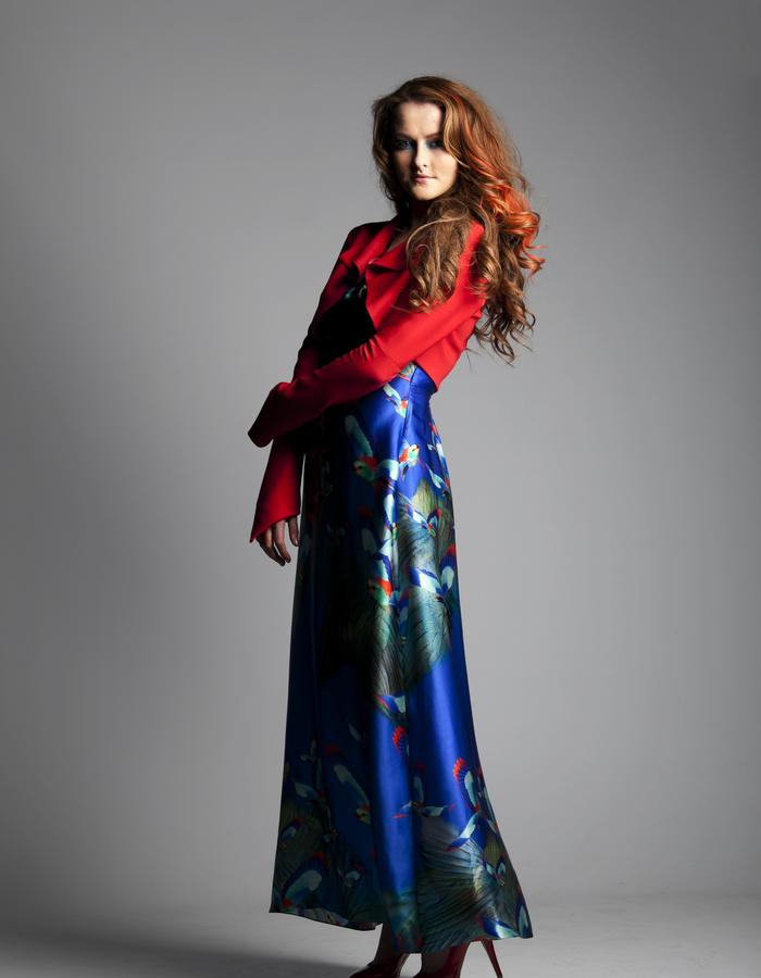 Red Tailored Jacket and Blue Hummingbird Maxi Dress in Silk