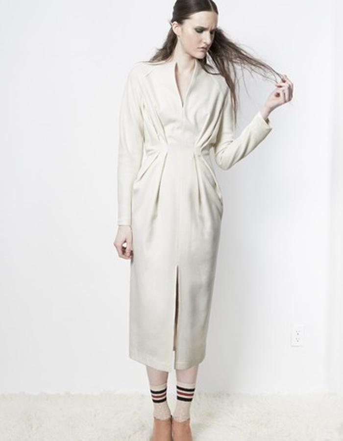 Anderst Morla Flora Tulip Dress Style# 0113 white wool/mink/cashmere