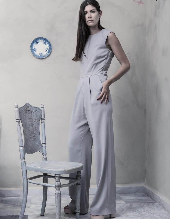 Jumpsuit with low crutch and open back