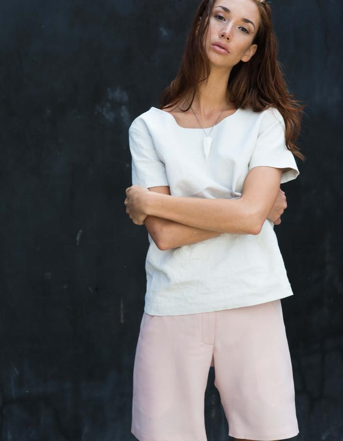 FOX Top // White Gesso Coated Crinkled Tee, BERING Shorts // Pink Silk Casual Shorts
