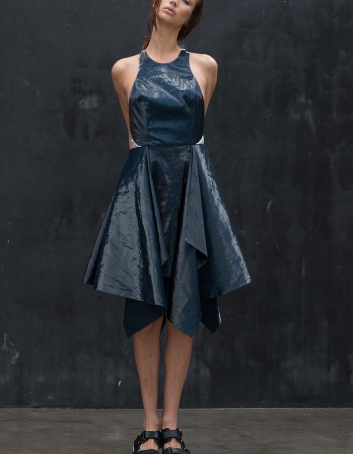MUIR Dress // Ice Bonded Linen Cutaway Drape Dress w/ Sheer Back Keyhole