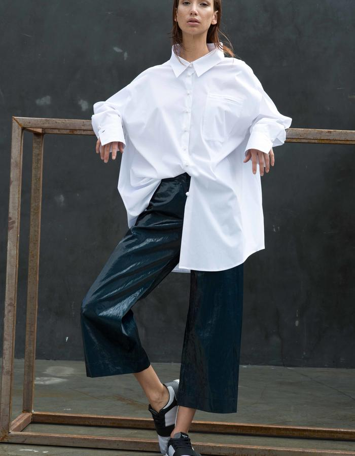 FURTWANGLER Shirt // Oversized Exaggerated Dress Shirt w/ 3D Printed Ice Cube Buttons and Standaway Collar, BALTORO Pants // Ice Bonded Linen Cullottes
