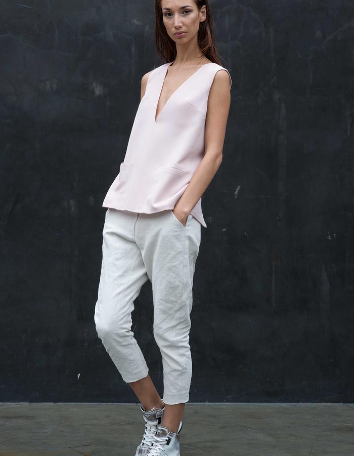 MENDENHALL Tunic // Pink Silk Tunic w/ Wrap Around Pockets and Sheer Organza Piping