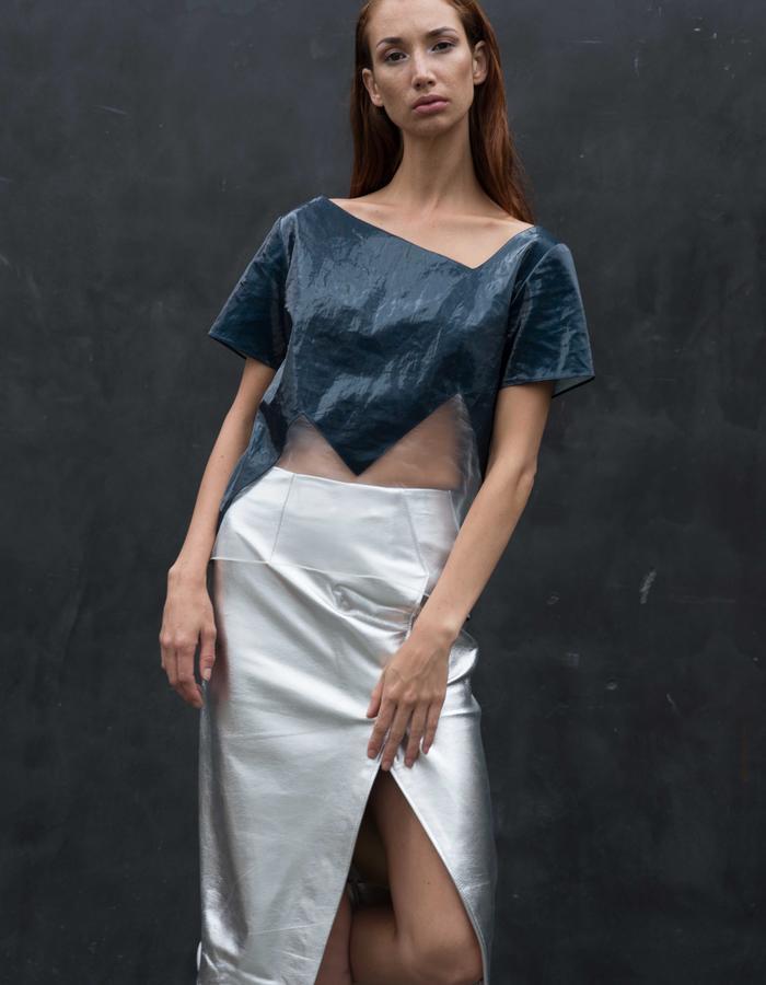 VATNA Top // Ice Bonded Linen Tee w/ Sheer Mountain Cutout, PORTAGE Skirt // Asymmetrical Silver Leather Wrap Skirt