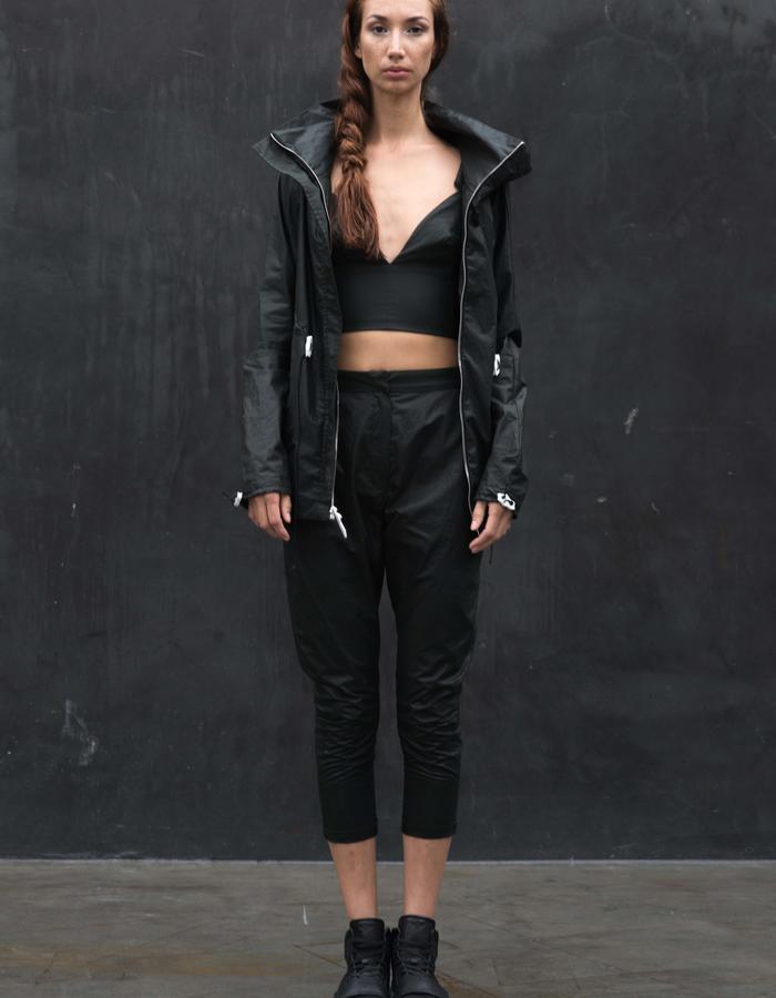 ATHABASCA Jacket // Black Wax Coated Anorak Jacket  w/ 3D Printed Zipper Pull + Cord Slider, KAFNI Pants // Black Wax Coated Drop Crotch Pants