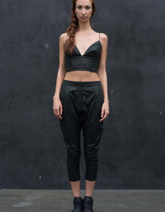 FRANZ Top // Black Wax Coated Crop Top w/ Snap Back Closure, KAFNI Pants // Black Wax Coated Drop Crotch Pants