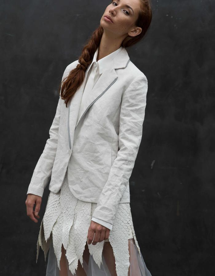 BOULDER Jacket // White Gesso Coated Linen Blazer w/ Reflective Collar + Casual Side Pockets, GRINNELL Skirt // White Coated Fish Leather Skirt w/ Sheer Organza Sweep