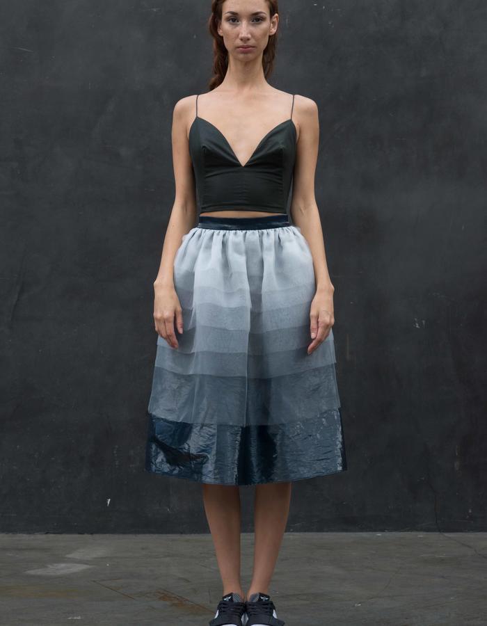 FRANZ Top // Black Wax Coated Crop Top w/ Snap Back Closure, UPSALA Skirt // Glacier Degrade Sheer Organza Skirt