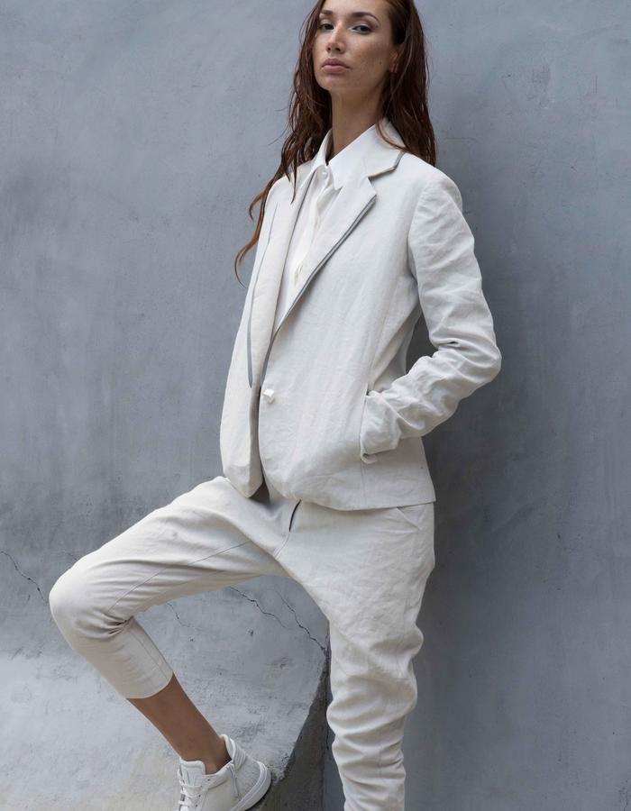 BOULDER Jacket // White Gesso Coated Linen Blazer w/ Reflective Collar + Casual Side Pockets, LAMBERT Pants // White Gesso Coated Linen Drop Crotch Pants