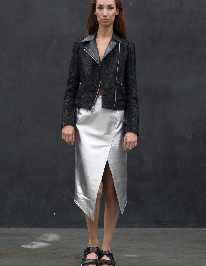 SOLHEIM Jacket // Black Fish Leather Jacket w/ Engineered Stretch Leather Pockets, PORTAGE Skirt // Asymmetrical Silver Leather Skirt