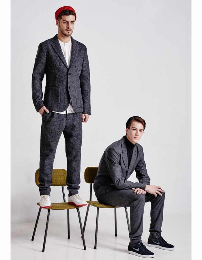 Suits: left made from Harris Wool, right made from fine mix of wool and silk