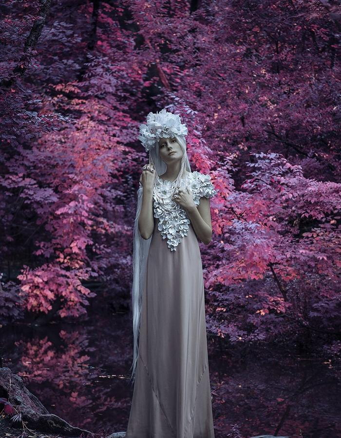 Reason To Be Pretty, Pink Forest photo shoot. Floral hand embroidered silk dress