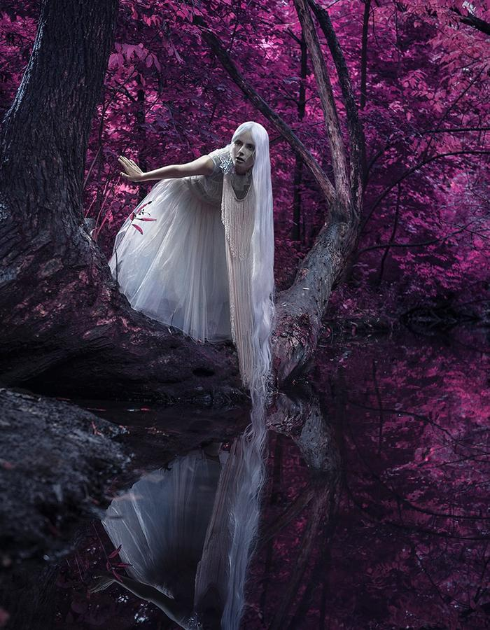 Reason To Be Pretty, Pink Forest photo shoot. White Tull & Fringe